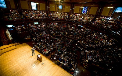 (Cambridge, MA - September 15, 2008) Moral Reasoning 22: Justice, taught by Professor Michael Sandel inside Sanders Theatre at Harvard University.  Staff Photo Justin Ide/Harvard News Office