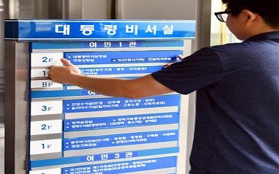 25일  청와대 조직 개편된 부서 안내판을  여민관 1층에 설치 하고있다  2017.5.25   청와대사진기자단 서울신문